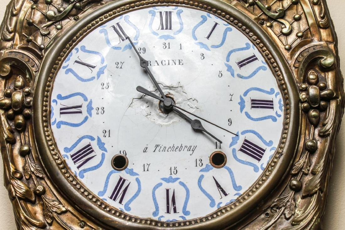 French Brass Morbier Wag on the Wall Clock 19th C. - 5