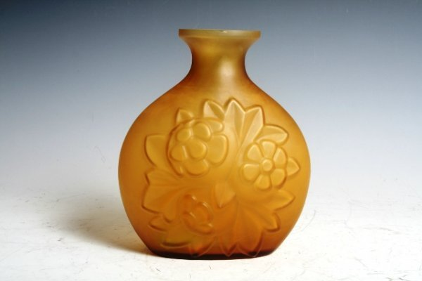 517: Pressed Amber Art Deco Glass Vase with Floral Deco