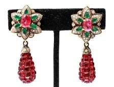 14K Gold Rubies Emeralds & Diamonds Earrings, Pair
