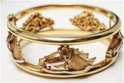 18K Gold Horse Heads Bracelet Carrera y Carrera