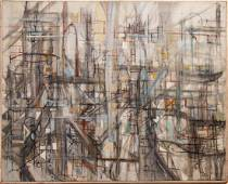 Illegibly Signed Abstract Expressionist Oil Canvas