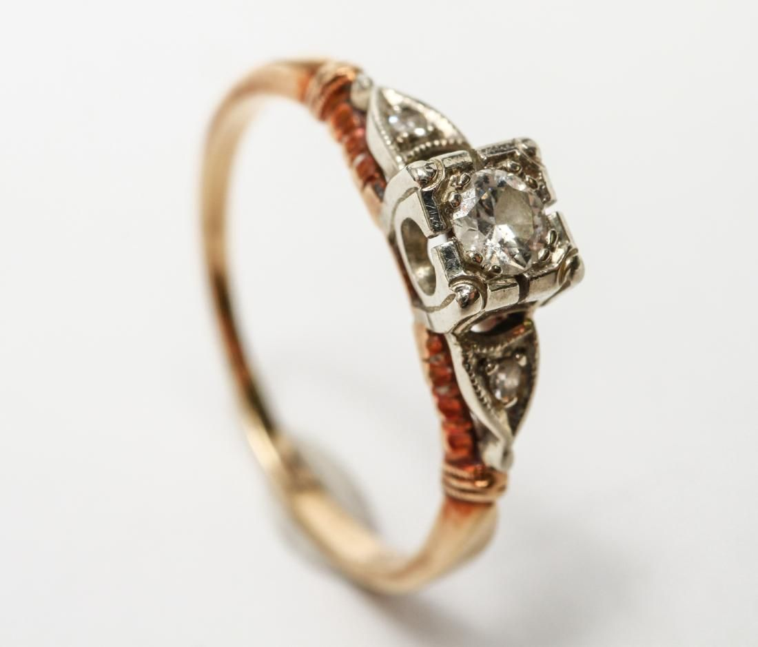 Art Deco 14K Gold Three Diamonds lady's ring