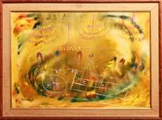 Nicola Ortis Poucette Roulette Players Oil Canvas
