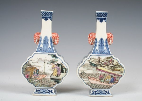 1001: Pair of Chinese Porcelain Vases with JiaQing Mark
