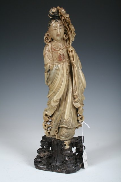 1004: Large 19th C Carved Chinese Soapstone Figure