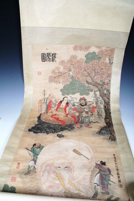 1012: 20th C Chinese Scroll Painting of Bodhisattvas
