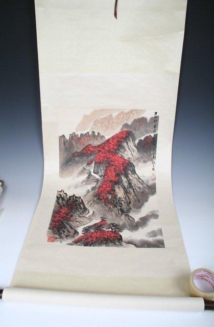 1014: Chinese Figures & Calligraphy Scroll Painting