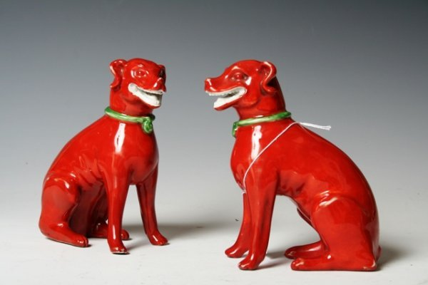 1016: Pair of 18th-19th C Chinese Porcelain Dogs