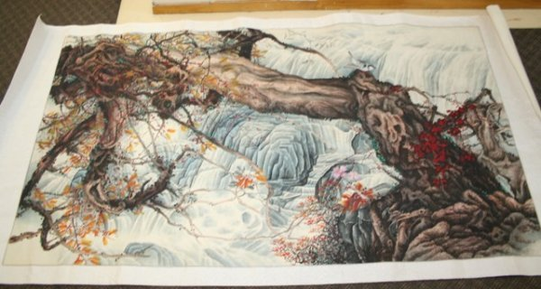 1020: A Huge 20th C Chinese Bird & Flower Painting