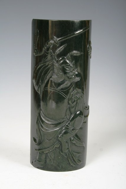 1021: Very Finely Carved Chinese Spinach Jade Arm Rest