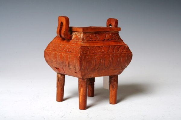 1023: 18th C Chinese Qianlong Bamboo Veneered Censor