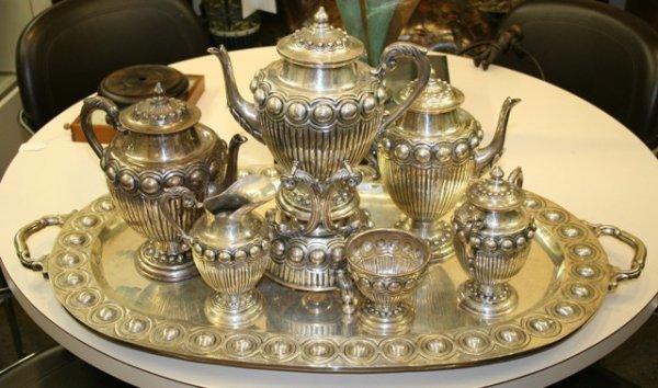 1207: 7 Piece Vigueras Sterling SIlver Tea Service