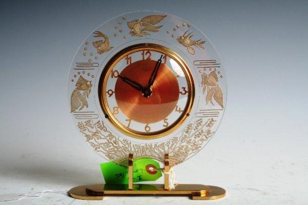 1260: Lancel Paris Brass & Lucite Art Deco Clock c1930s