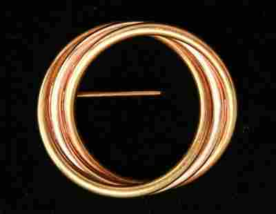 14K Yellow Rose Gold Entwined Circles Brooch