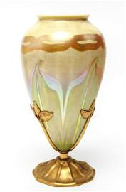 Tiffany L.C.T. Favrile Iridescent Feather LCT Vase