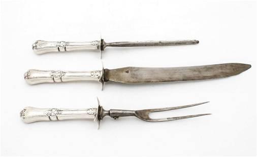 Gorham Sterling Silver Carving Set 3 Pc ca 1885