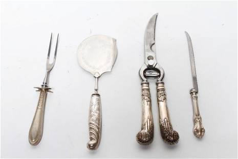 Sterling Silver Handled Serving Utensils 4 Pcs