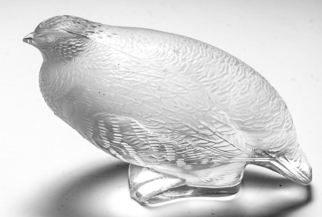 """French Lalique Crystal Art Glass """"Quail"""" Figurine"""