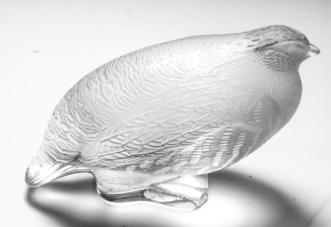 """French Lalique Crystal Art Glass """"Quail"""" Figurine - 2"""