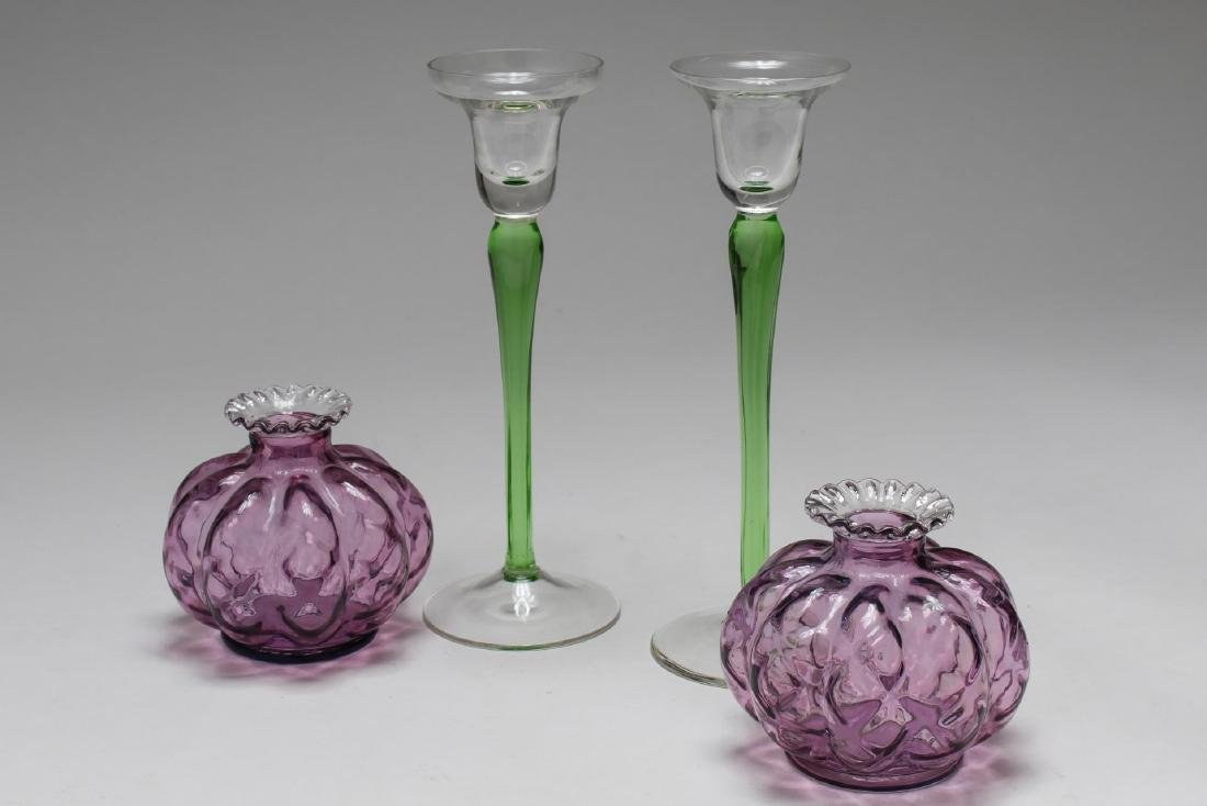 Vintage Colored Glass Candle Holders, 2 Pairs