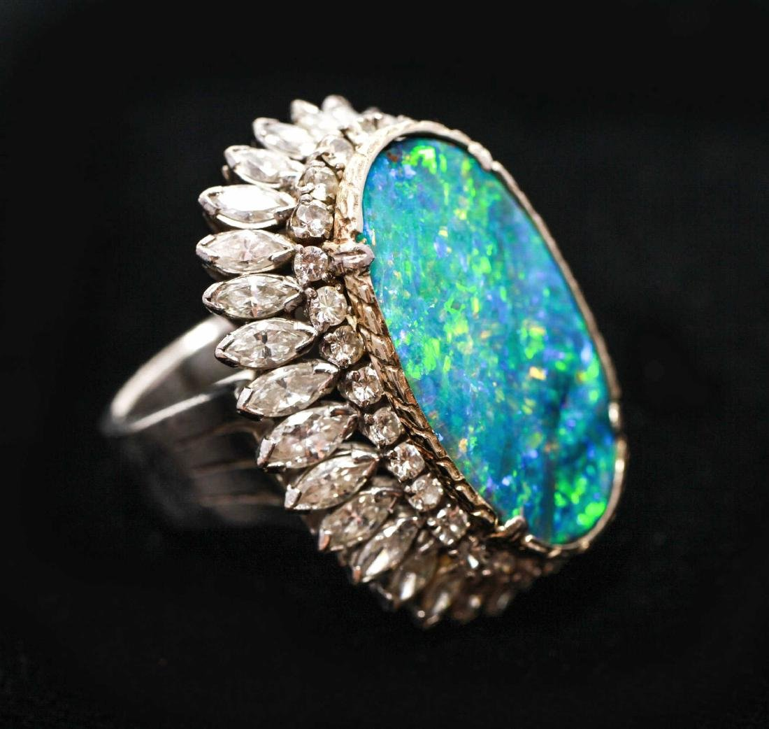10K Gold Large Oval Black Opal & Diamonds Ring