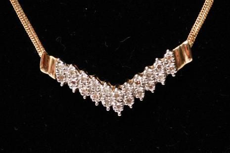 14K Gold Diamonds Chevron Form Pendant Necklace