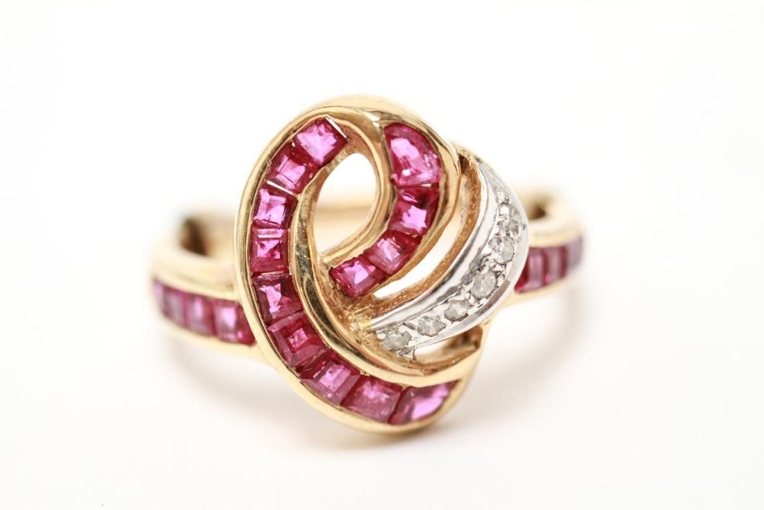 14K Gold Rubies & Diamonds Knot Motif Ring
