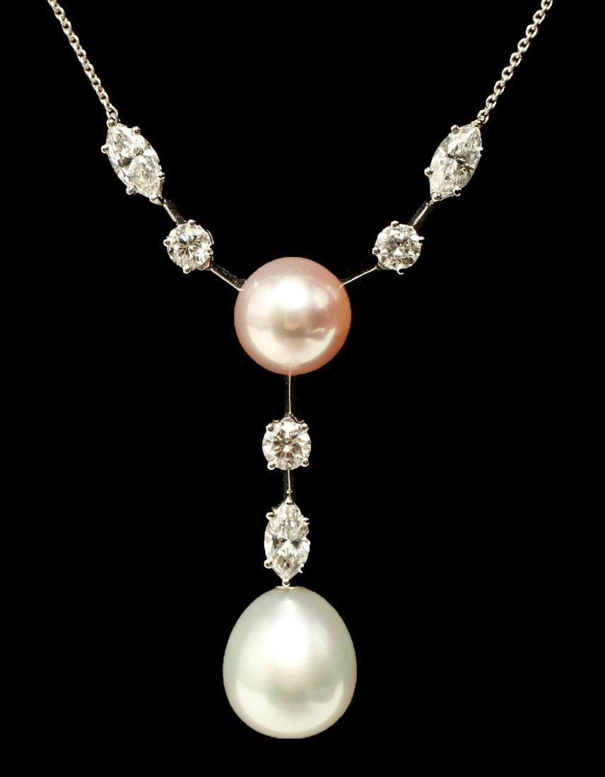 Graff Platinum Total 3cts Diamond & Pearl Necklace