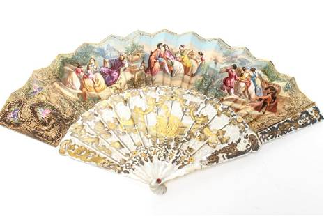 Mother of Pearl HandPainted AngloIndian Fan