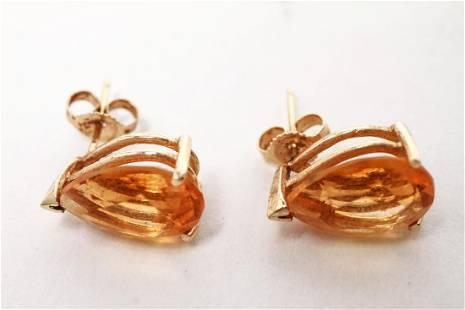 14K Yellow Gold PearCut Citrine Earrings
