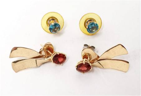 14K Gold Blue Topaz Garnet w Bow Dangle Earrings