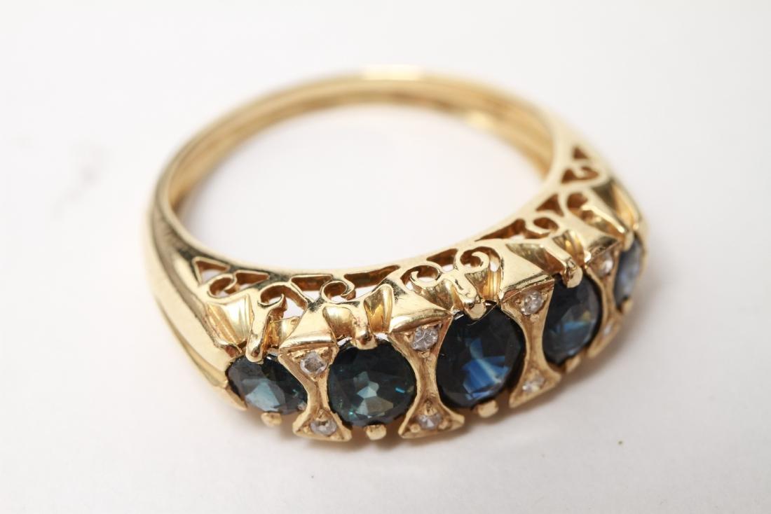 14K Gold Sapphires & Diamonds Lady's Ring