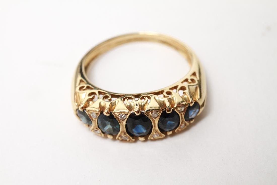 14K Gold Sapphires & Diamonds Lady's Ring - 2
