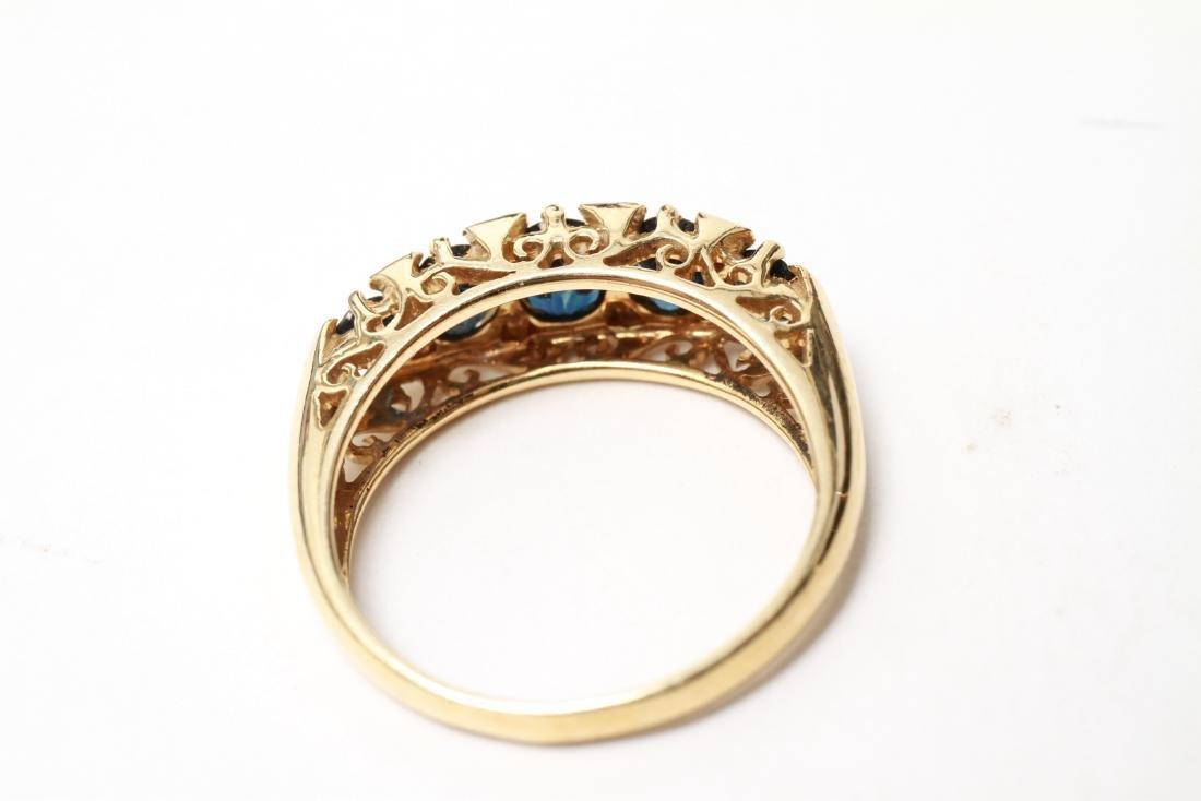 14K Gold Sapphires & Diamonds Lady's Ring - 3