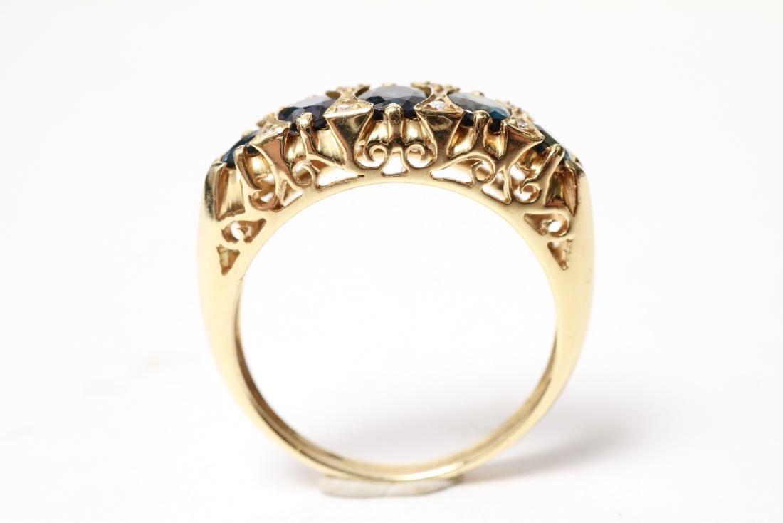 14K Gold Sapphires & Diamonds Lady's Ring - 4