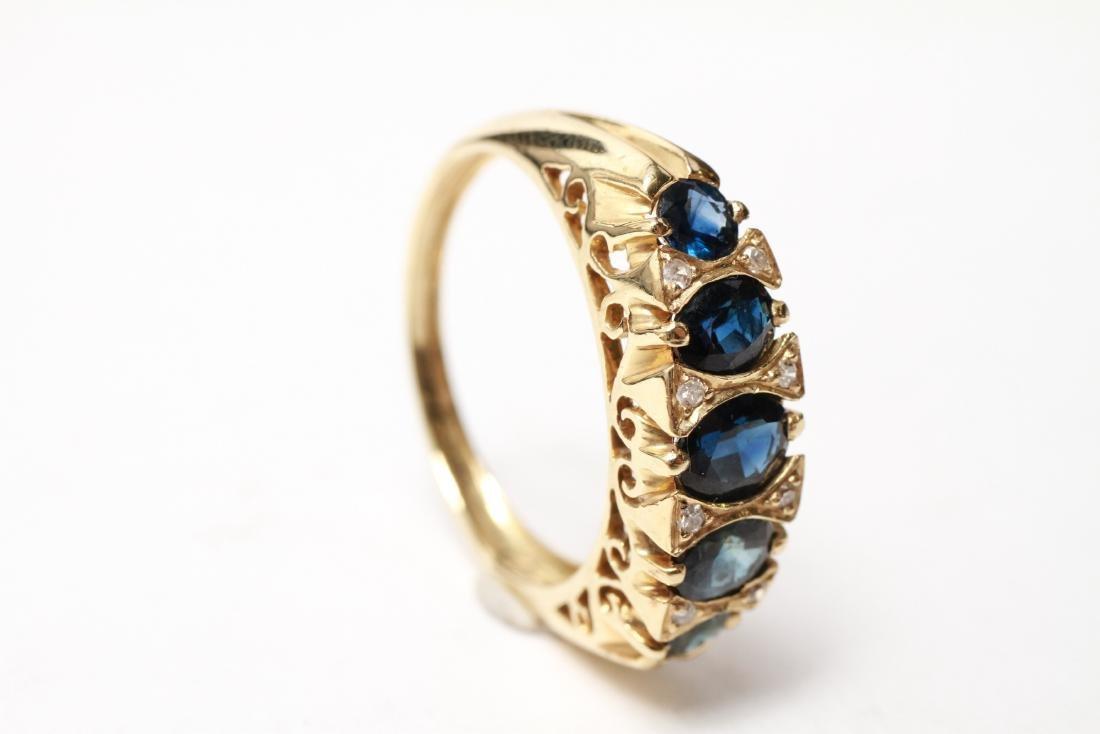 14K Gold Sapphires & Diamonds Lady's Ring - 5