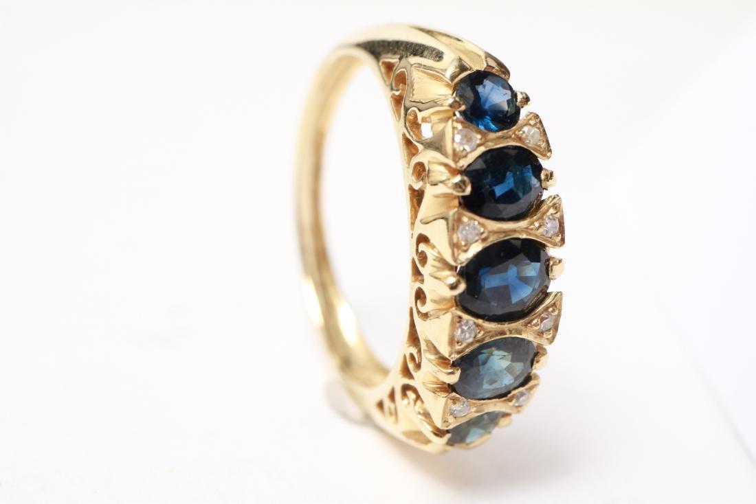 14K Gold Sapphires & Diamonds Lady's Ring - 6