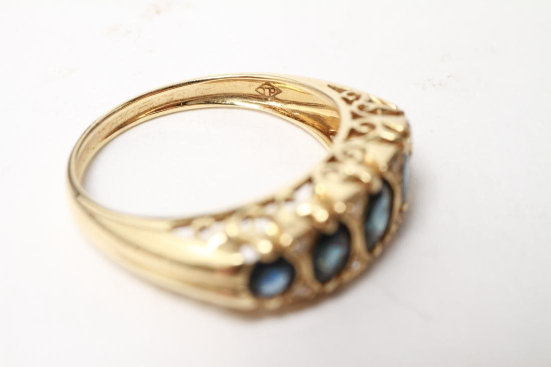 14K Gold Sapphires & Diamonds Lady's Ring - 7