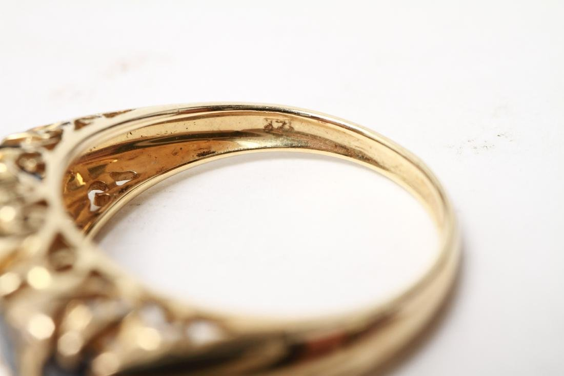 14K Gold Sapphires & Diamonds Lady's Ring - 8