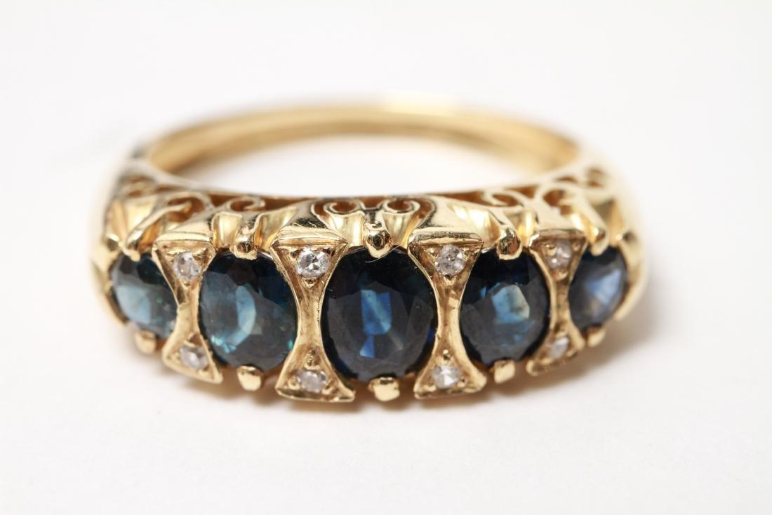 14K Gold Sapphires & Diamonds Lady's Ring - 9