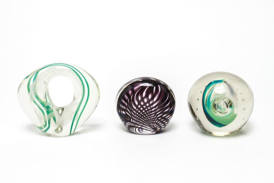 Three Neil Duman Art Glass Paperweights, Signed