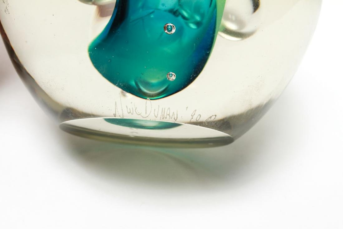 Three Neil Duman Art Glass Paperweights, Signed - 3