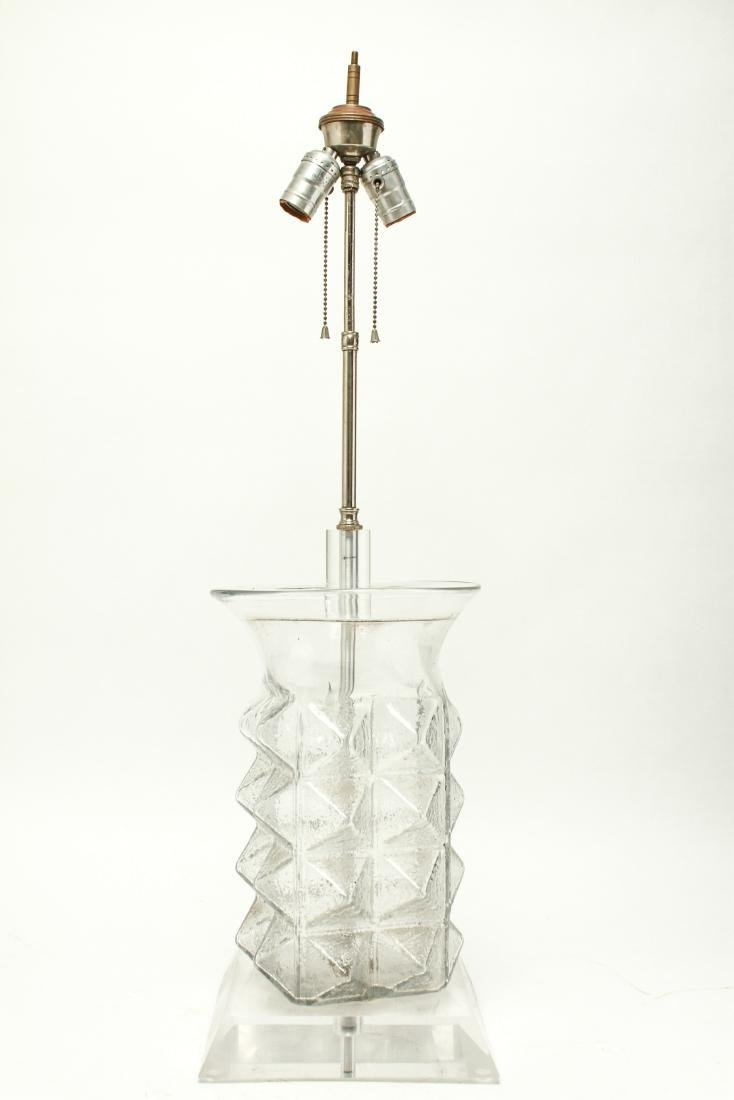 Mid Century Modern Glass & Lucite Table Lamp