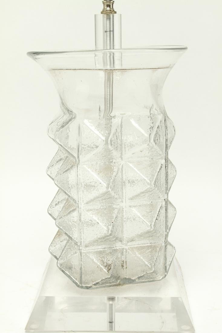 Mid Century Modern Glass & Lucite Table Lamp - 2