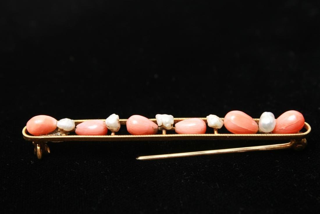 14K Gold Coral & Freshwater Pearls Bar Pin Brooch - 2