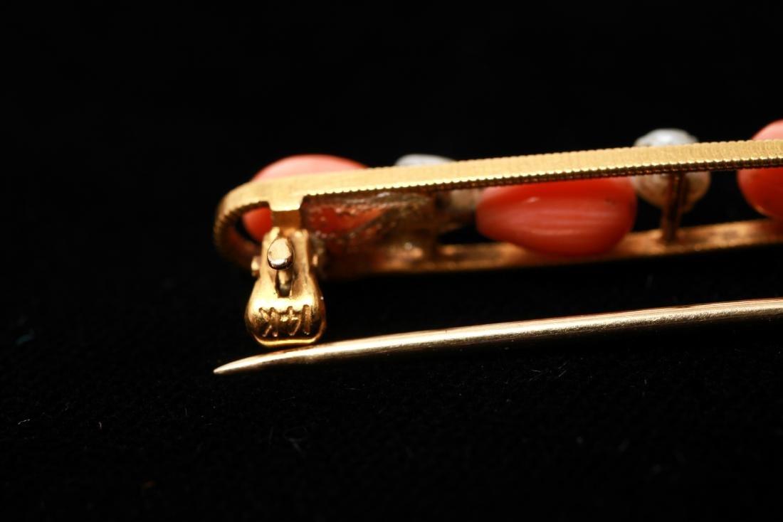 14K Gold Coral & Freshwater Pearls Bar Pin Brooch - 5