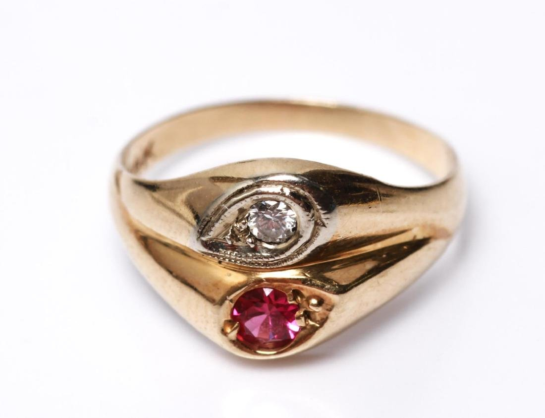 14K Gold Diamond & Ruby Lady's Ring