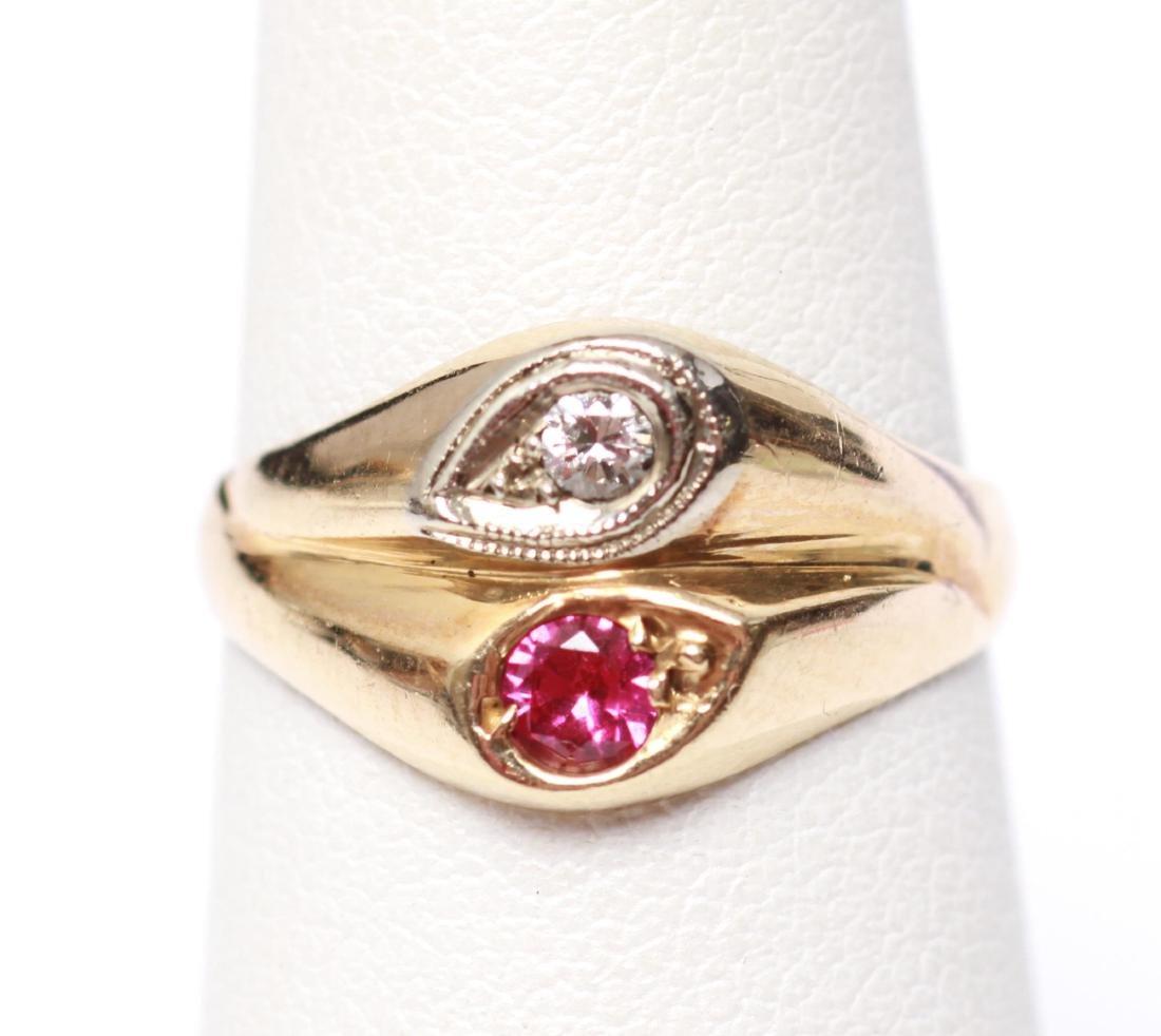14K Gold Diamond & Ruby Lady's Ring - 2
