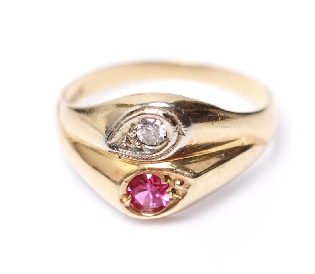 14K Gold Diamond & Ruby Lady's Ring - 3