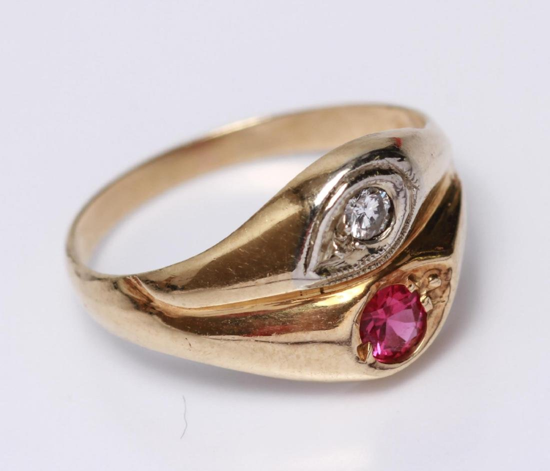 14K Gold Diamond & Ruby Lady's Ring - 5